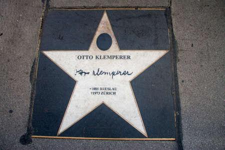 Star of Otto Klemperer, Walk of fame, Kerntner strasse, Vienna, Austria 05 november 2018