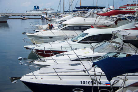 Row of yachts, boats, sailboats, Sea port of Sochi, South of Russian Federation 06 sept 2020