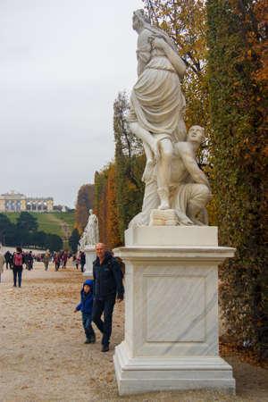 Antic statue in the park Park around Shonbrunn Palace Vienna Austria 03 November 2018 Editorial