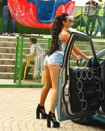 Dancing girl dancing a dubstep on the moto festival 3 may 2015 Pyatigrorsk Russia