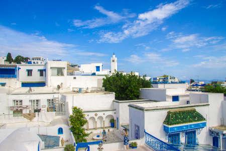White and blue design town Sidi Bou Said, Tunisia, North Africa 09 october 2018