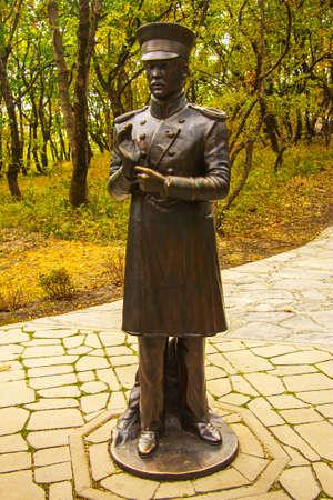Statue of Pechorin in the Emanuel park, Pyatigorsk, Russian Federation 04 oct 2020