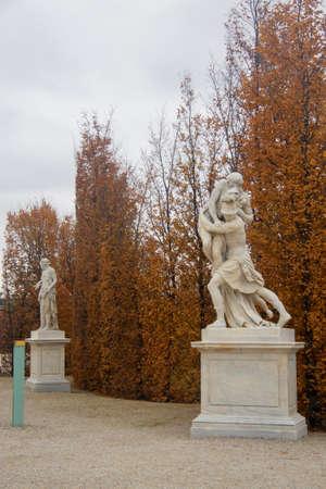 Statue in the park around Shonbrunn Palace Vienna Austria 03 November 2018