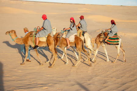 Group of tourists over dromedary camel walking in the sands of Sahara desert, Tunisia, North Africa 13 october 2018 Editorial