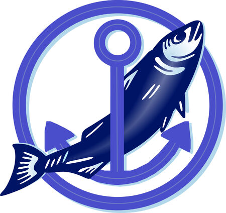 meer: big fish with anchor  Illustration