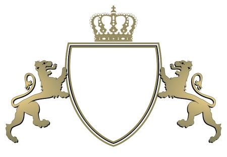 blasone: corona di araldica e twain leoni