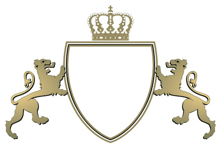 heraldry crown and twain lions
