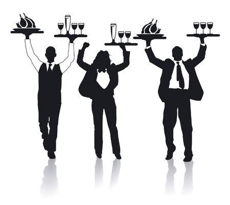 waitresses: three cheerful waiter  Illustration