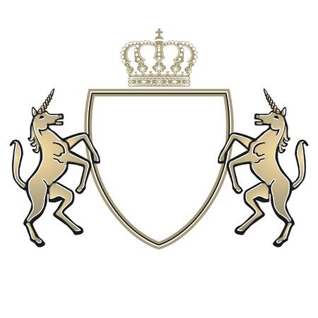 emblem with unicorn  Illustration