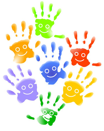 kindergarten: Many child hands  Illustration