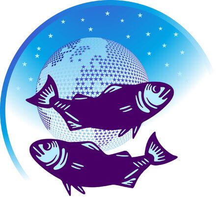 zodiac sign Pisces  Vector