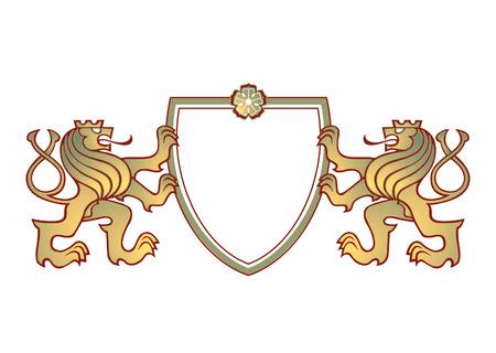 signet: un par de leones cresta  Vectores