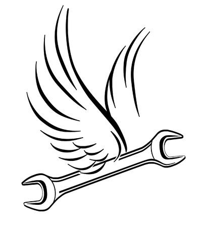 car repair shop: flying wrench  Illustration
