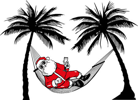 Santa Claus in hammock  Vector