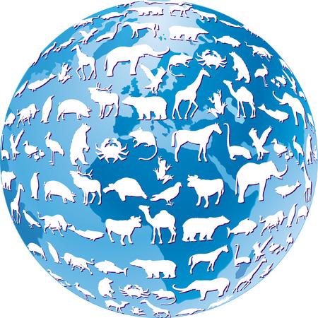 animal shelter: endangered animals global  Illustration