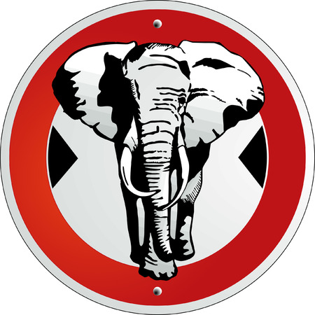 elephant road sign Stock Vector - 6594037