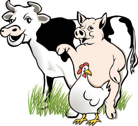 cow, pig, chicken  Vector
