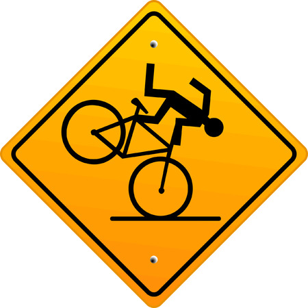 mountain bicycle: attention Danger of crashing