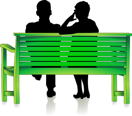 pensioners: seniors at park bench  Illustration