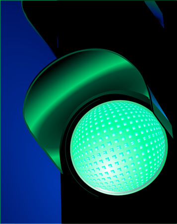 signal stop:  traffic lights green
