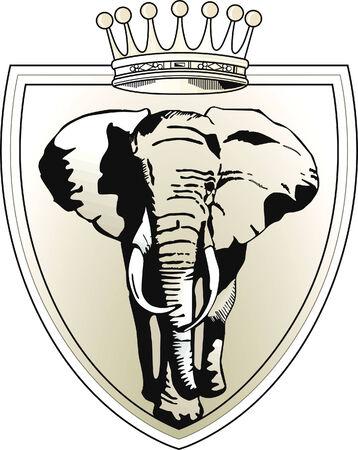 blasone: corona di elefante  Vettoriali