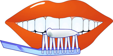 cleaning teeth  Ilustracja