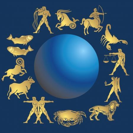 roue de fortune: signes de la zodiac  Illustration