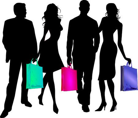 shoppen: P�rchen, einkaufen gehen  Illustration