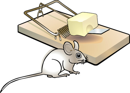 mouse trap: mousetrap and mouse  Illustration