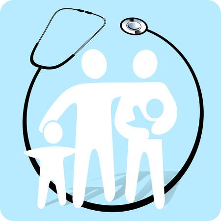 stethoscope with patient  Ilustracja