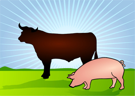 Bull and Pig  Stock Vector - 6630271