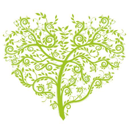 marrying:  heart tree  Illustration