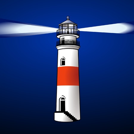 lighthouse at night: FARO DE NOCHE  Vectores
