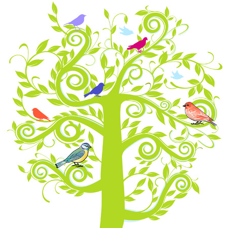 greener:  tree and bird