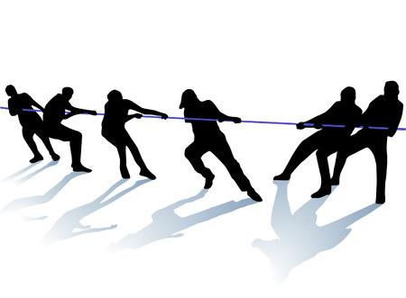 touwtrekken  Vector Illustratie