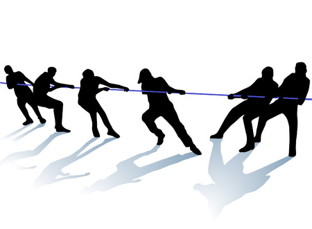 team effort: tug-of-war  Illustration