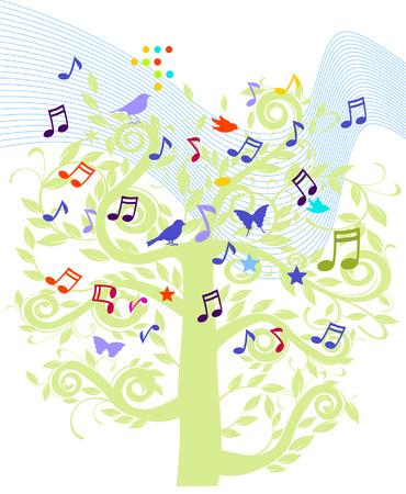 song bird: sheet music tree  Illustration