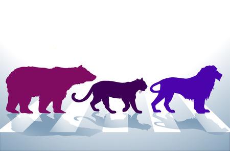 crosswalk: Animal crosswalk, zebra crossing,  Illustration