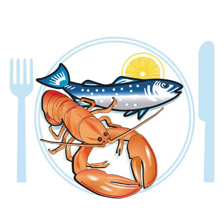 seafood dinner: seafood  Illustration