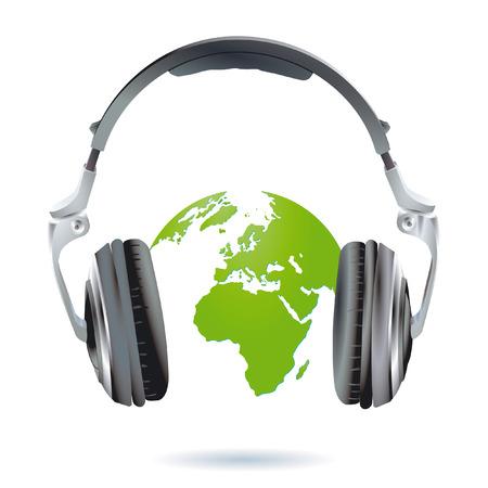 electronic music: headset world-wide Illustration