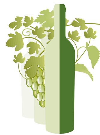 french countryside: white wine, vine leaves