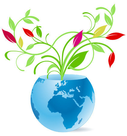 earth and flower vase Stock Vector - 7006645
