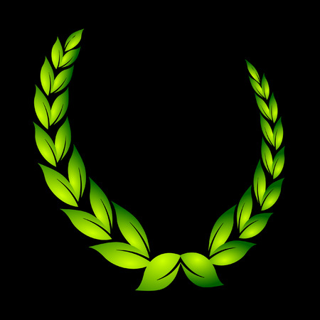 olive wreath: Corona de laurel en negro  Vectores