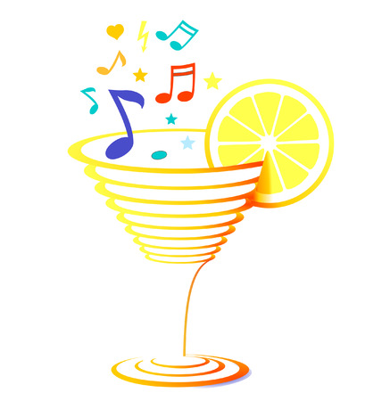 cocktail and sheet music Vector