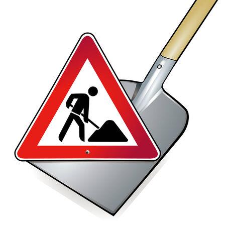 road works: shovel road works