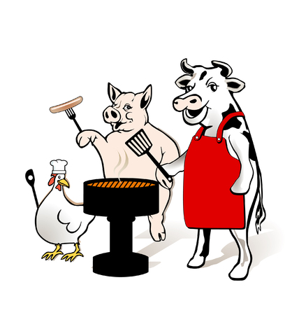 Animal Farm to have a barbecue Vector