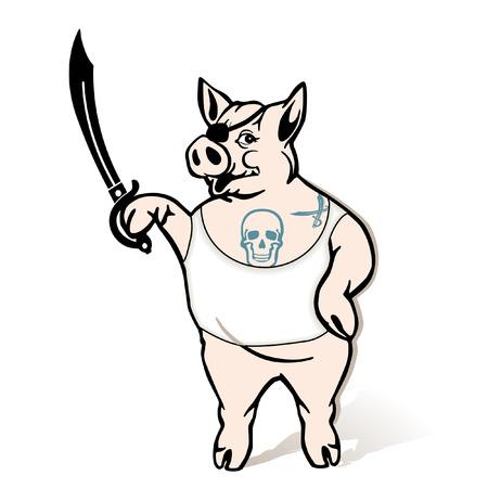 meer: pirate Pig Illustration