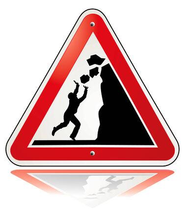 careful: warning falling rocks Illustration