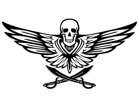 drapeau pirate: aile volante de pirate