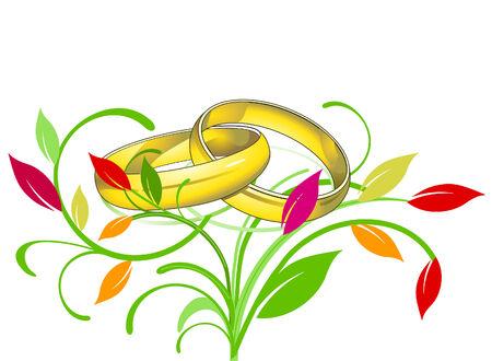 marrying: golden rings wedding Illustration